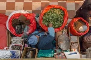 Vendedora de folha de coca, Mercado Central de Potosí, Bolívia
